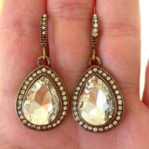 Crystal and Antiqued Gold Drop Earrings